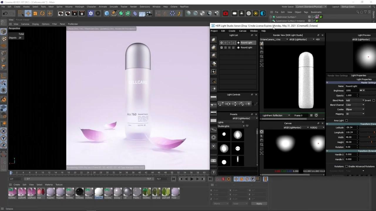 C4D化妆品材质渲染视频教程下载