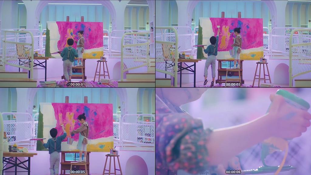 小孩子涂鸦画画视频素材下载