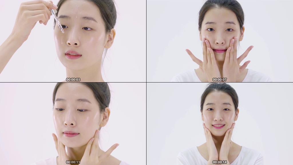 使用精华液擦脸视频素材