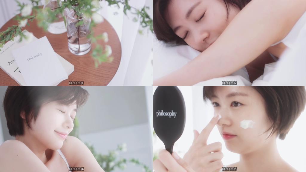 睡醒的短发美女视频素材