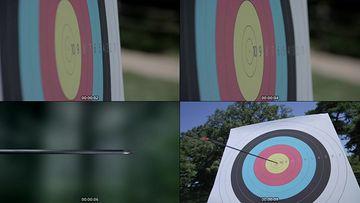 射箭正中靶心视频素材