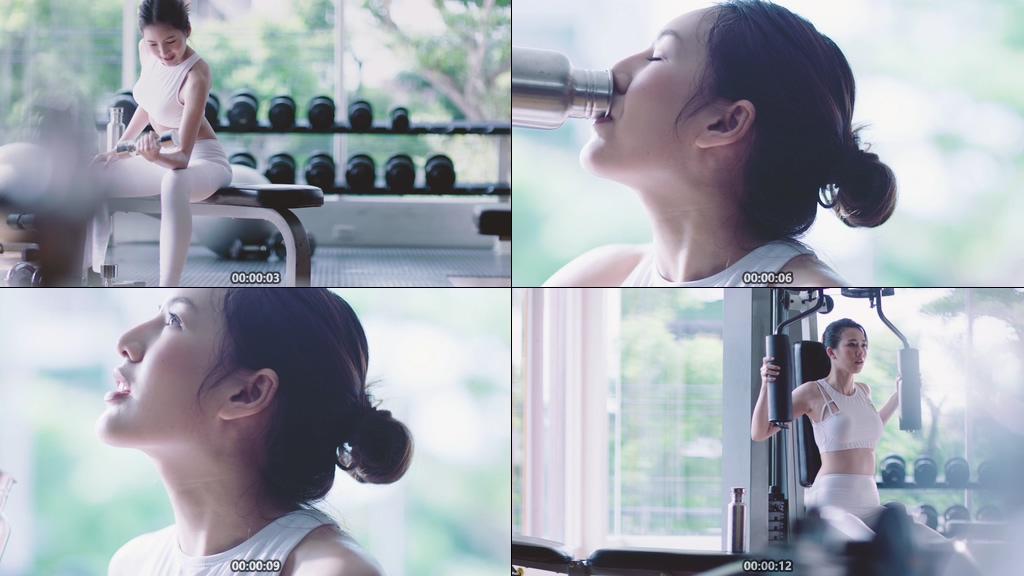 健身的美女视频素材