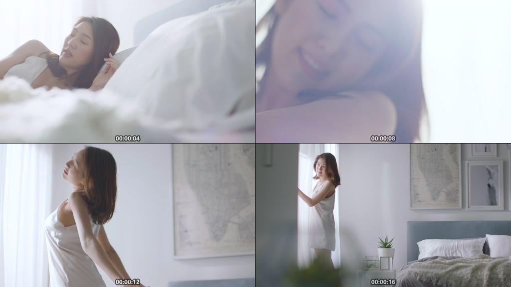 美女睡醒视频素材