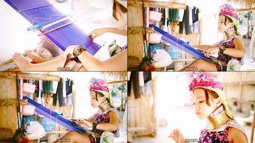 泰国长颈族编织布料衣服视频素材