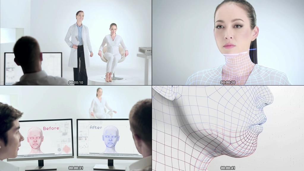 高科技整形医院面部3D扫描视频