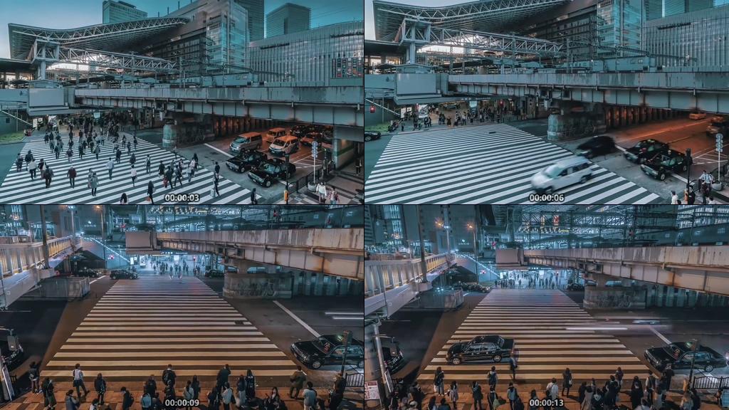 日本上下班高峰期人行道