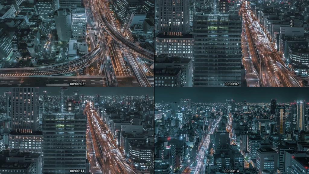 日本大阪市车流延时摄影视频