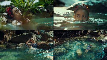 泡温泉的美女视频