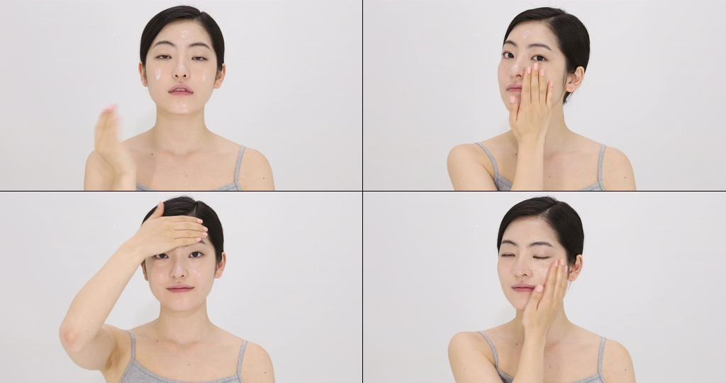 4K擦化妆品的女孩视频素材