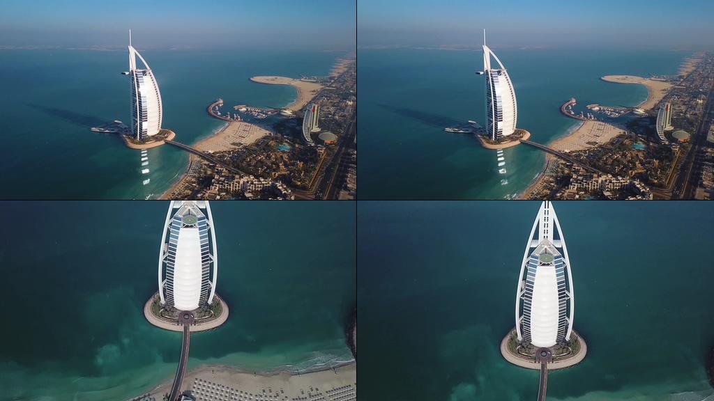 4K航拍迪拜帆船酒店视频素材下载