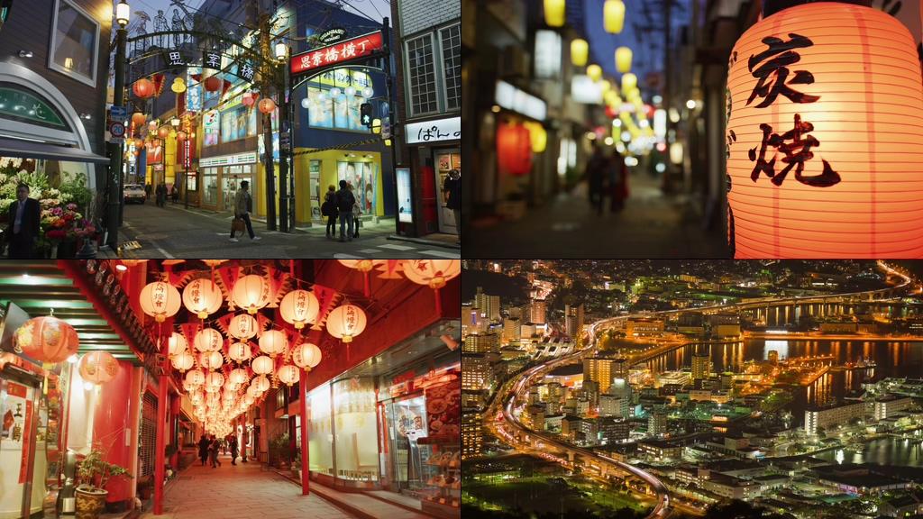 4K日本長崎九州岛城市夜景视频素材