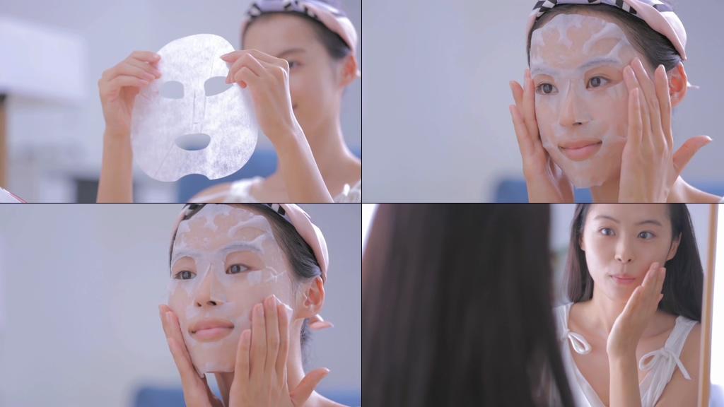 敷面膜的女孩微笑视频素材