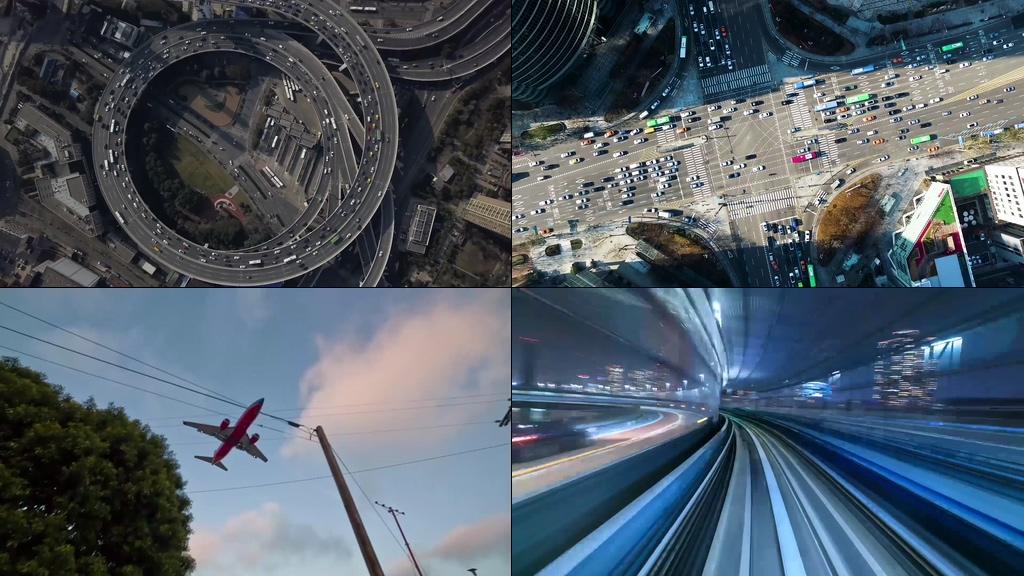 韩国城市车流环岛视频