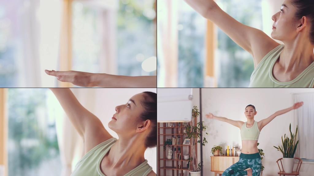 在家里做瑜伽的美女视频素材