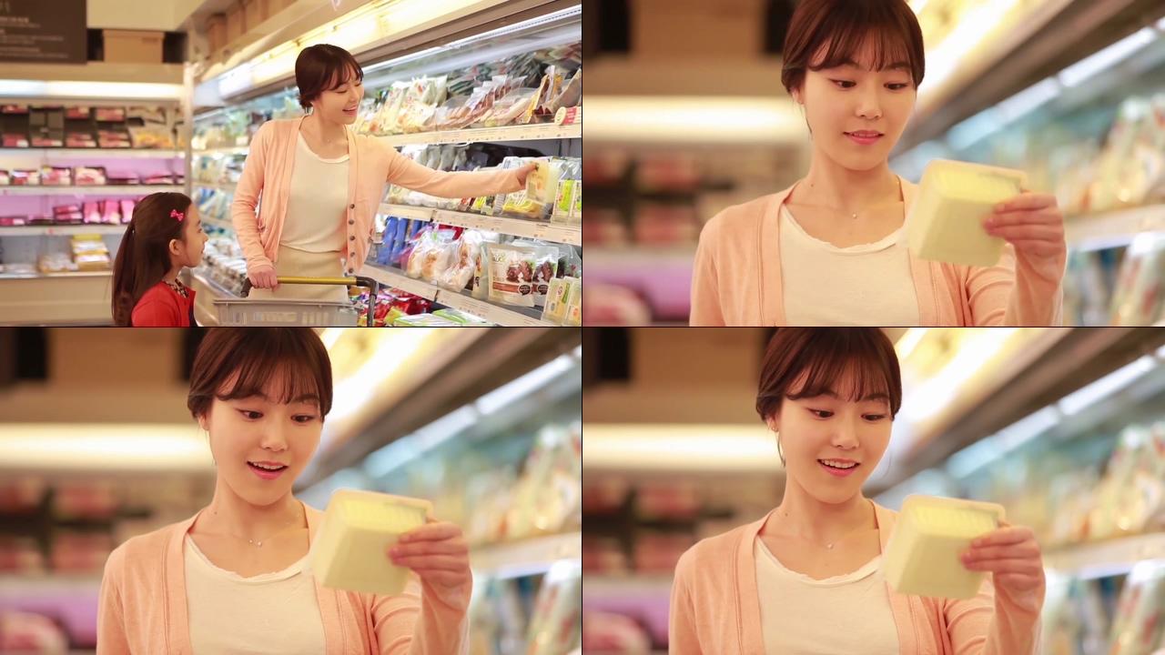 母女超市购物视频素材