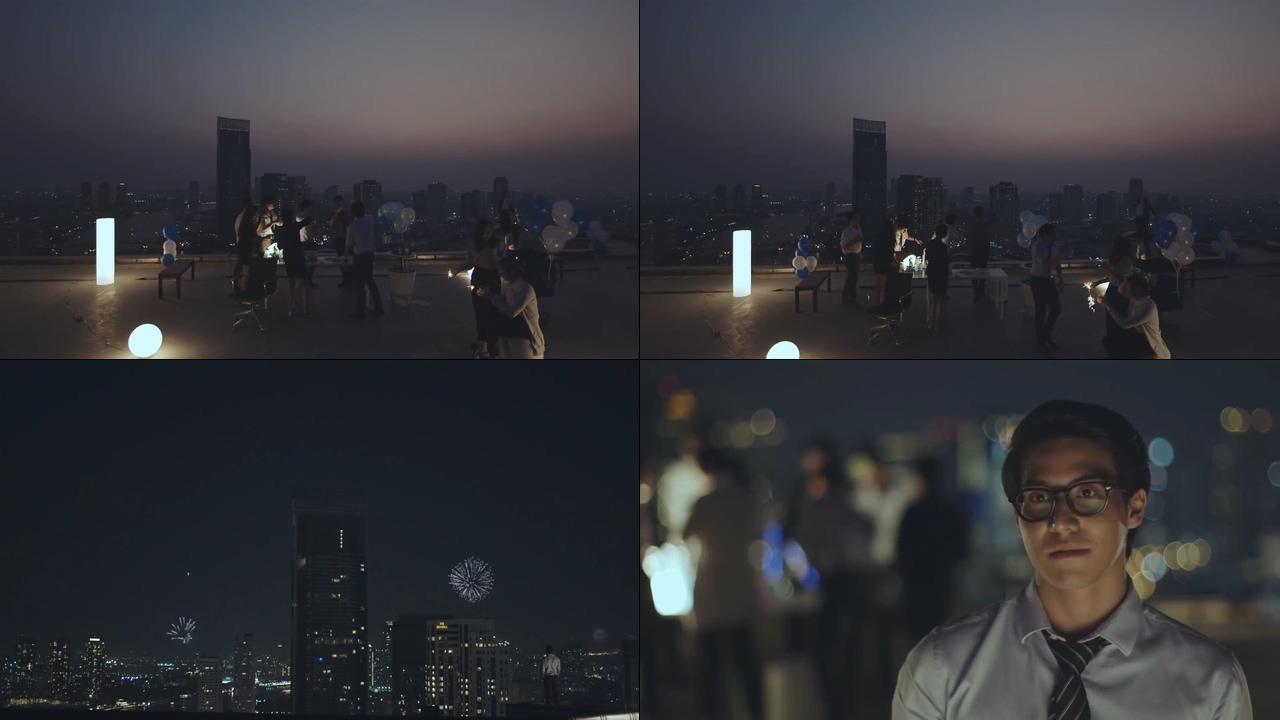 楼顶上的party视频素材