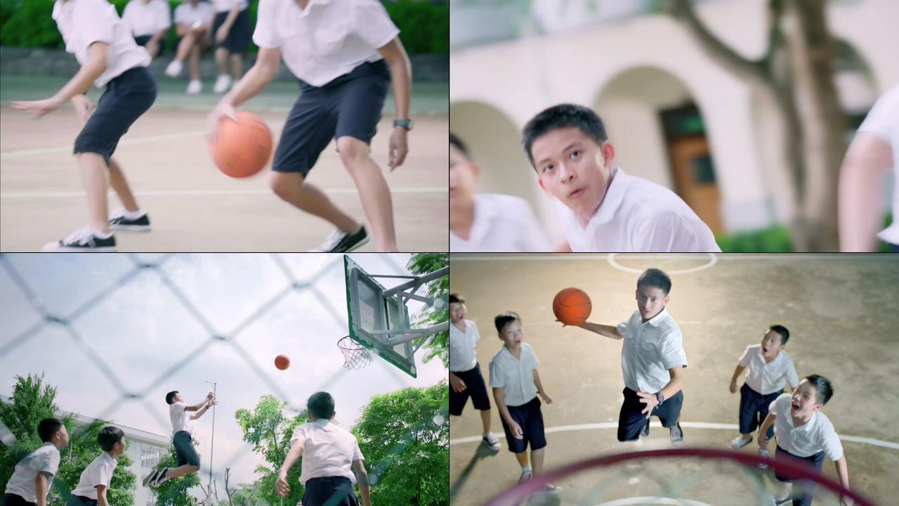 初中生打篮球视频素材