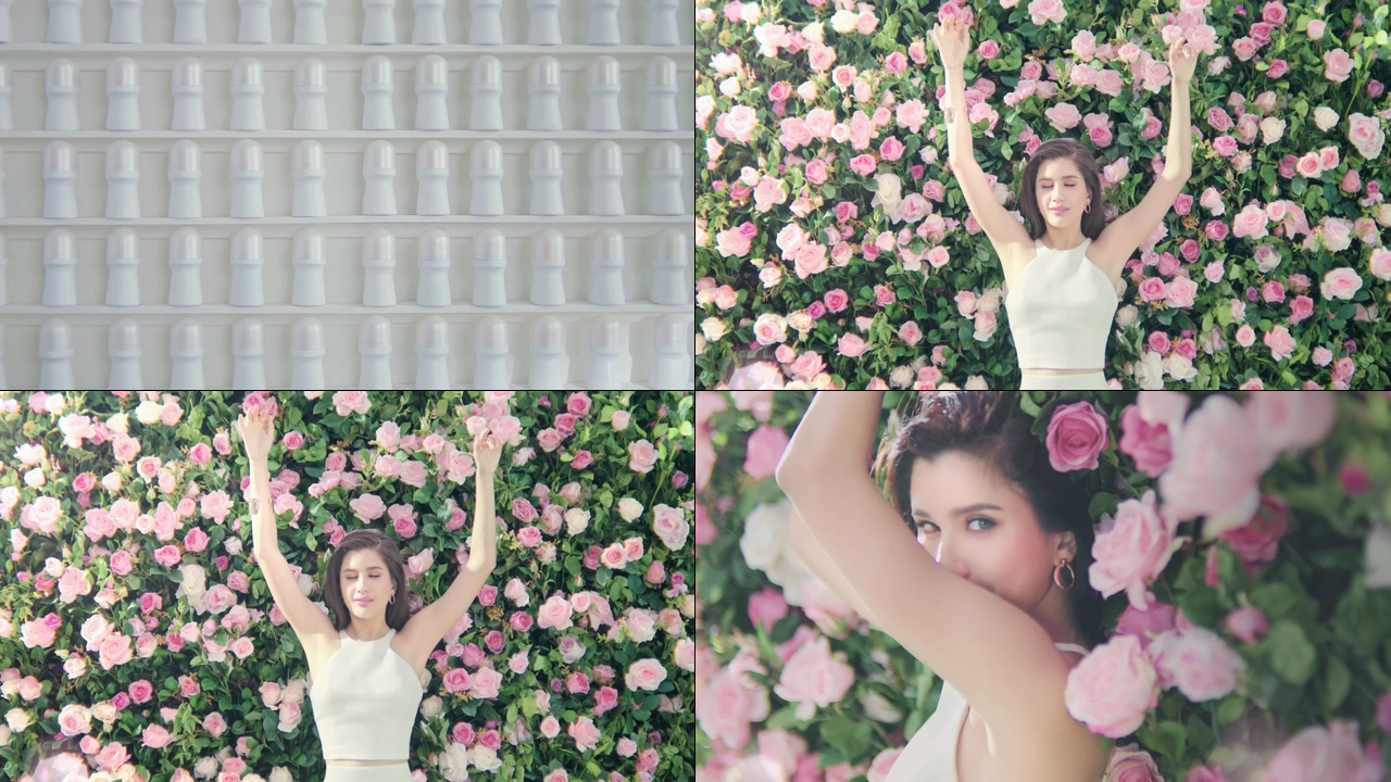 玫瑰花和美女视频素材