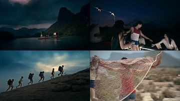 一群年轻人自驾游疯狂视频素材
