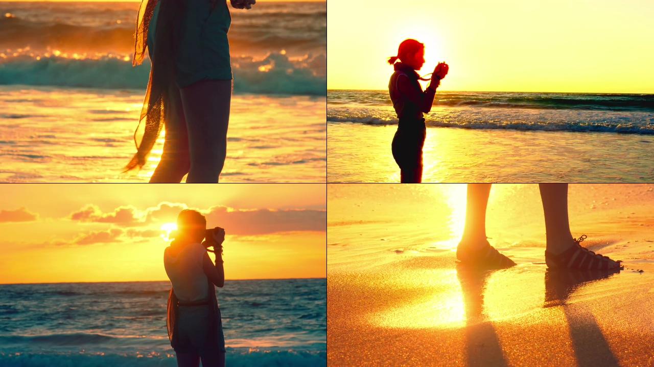 4K夕阳下在海边拍照的女孩