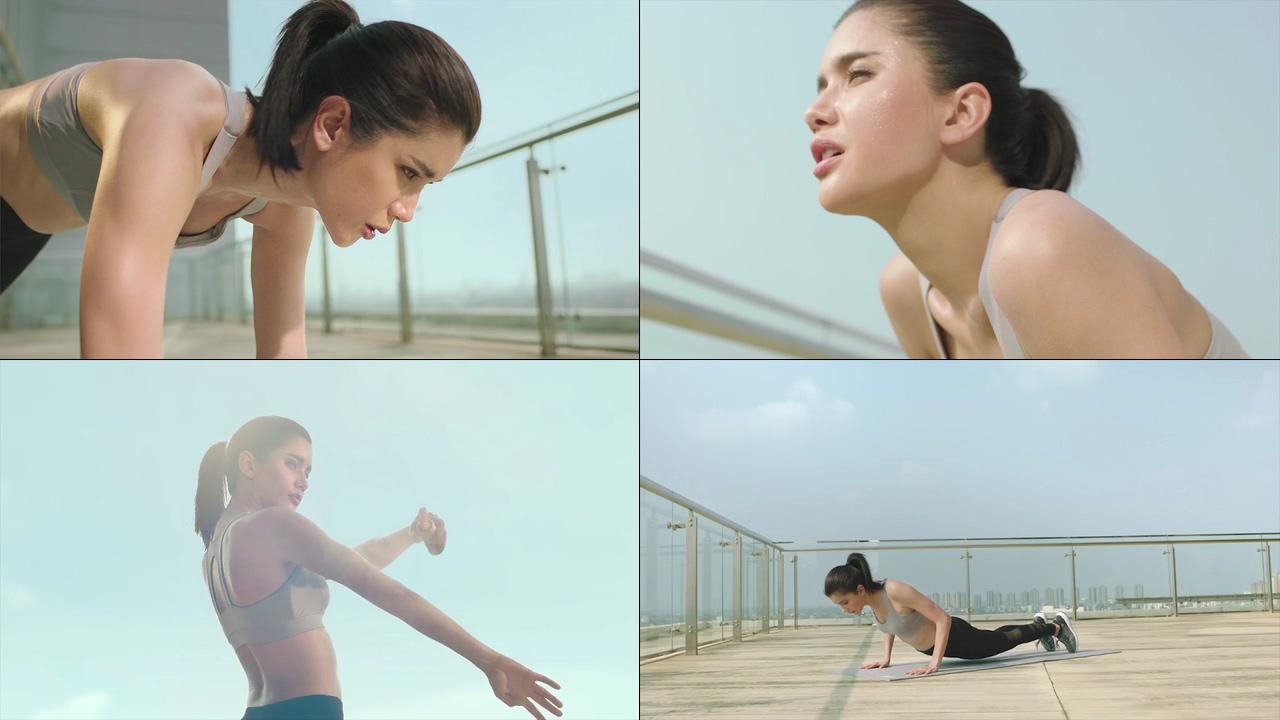 运动健身的美女视频素材