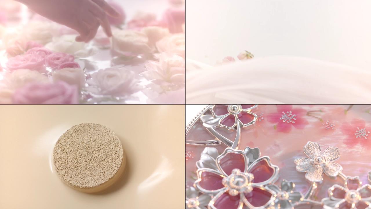 粉底液和玫瑰花视频素材