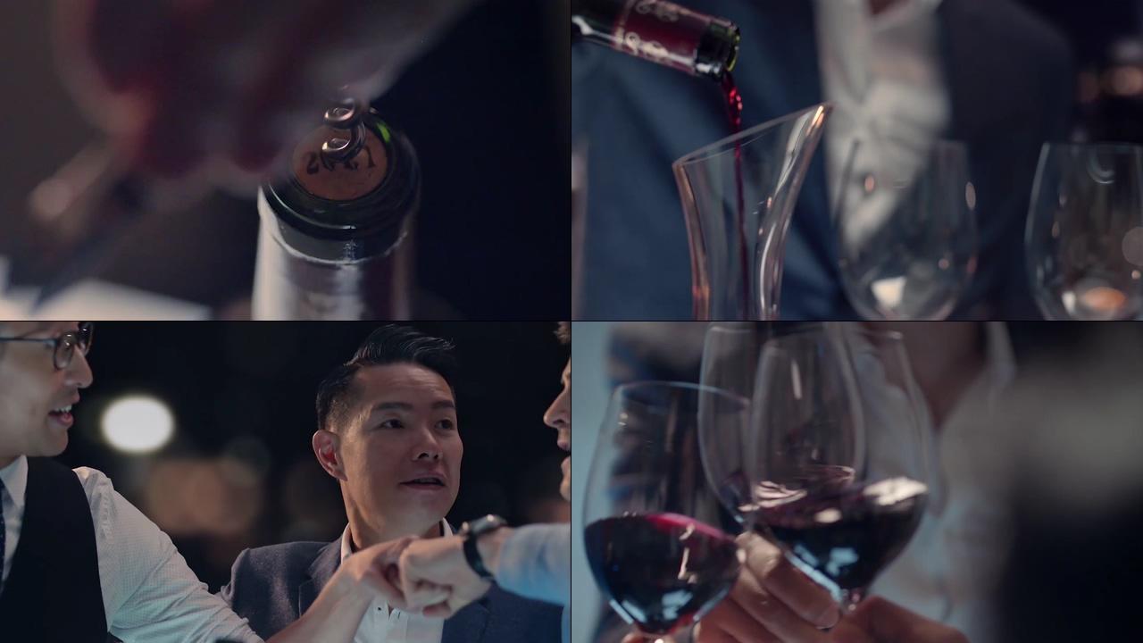 高端商务喝红酒视频素材
