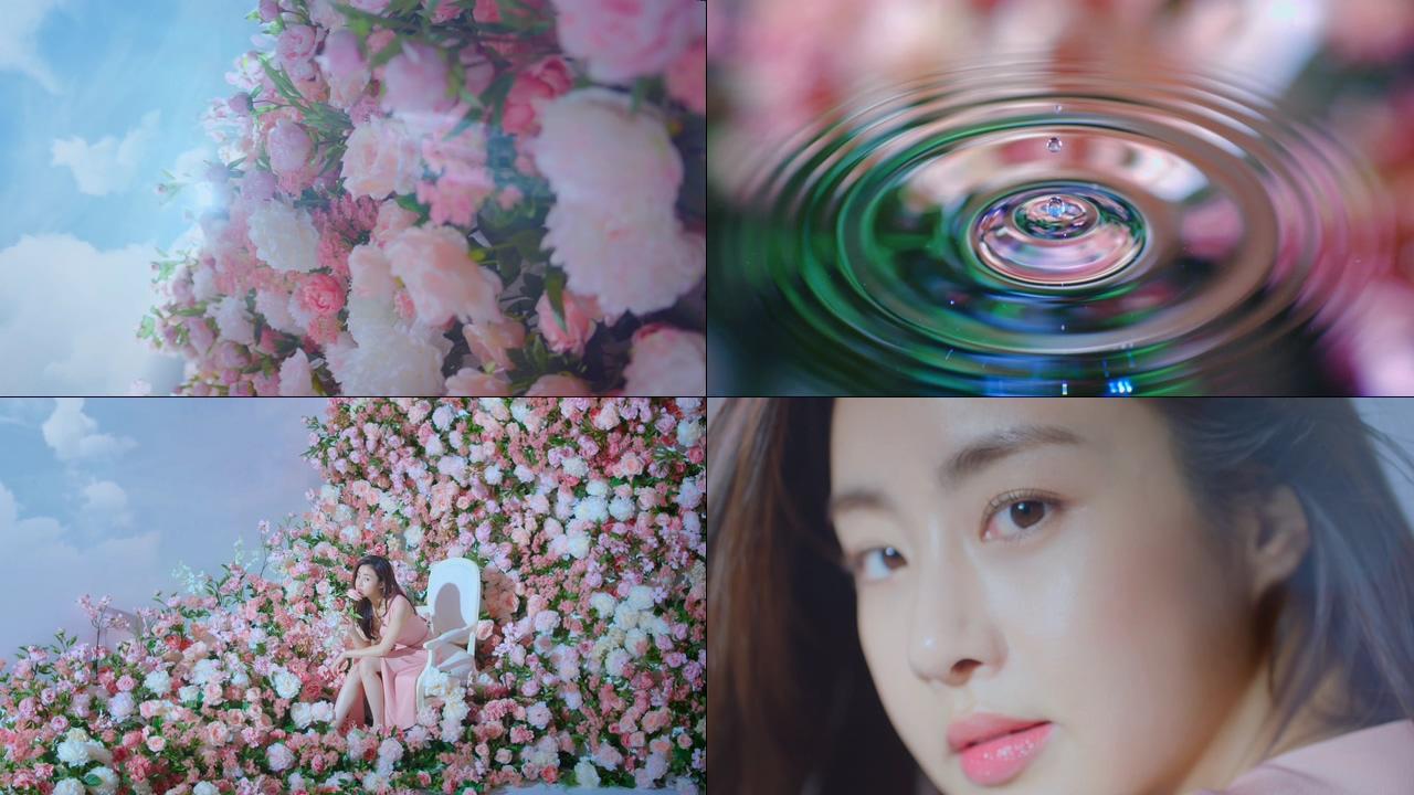 玫瑰花从中的美女视频素材