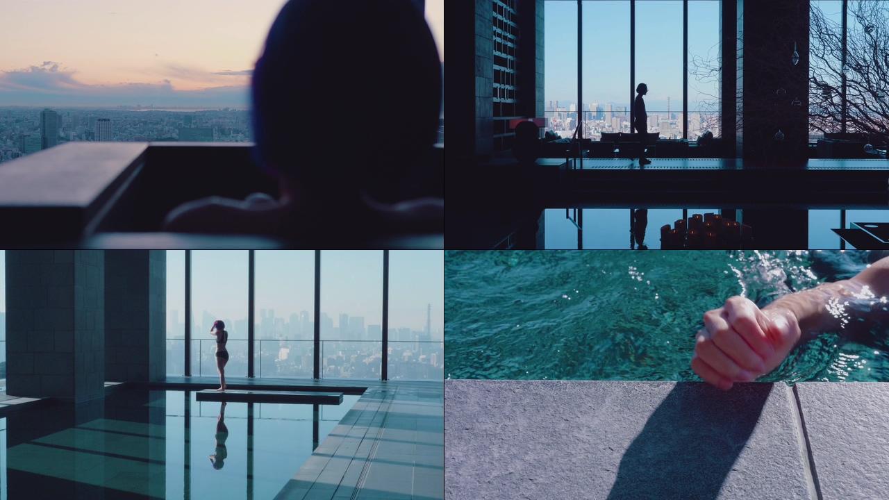 高端生活游泳的女人