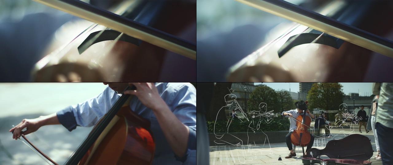 在街头拉大提琴的帅哥