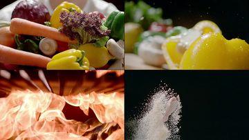 厨师抱着一箩蔬菜视频素材