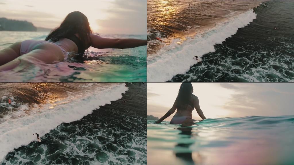 滑水冲浪的美女背影视频素材