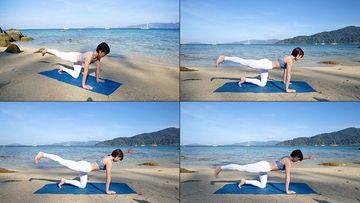 在海边做瑜伽的女人视频