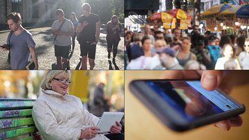 低头族玩手机的人视频素材
