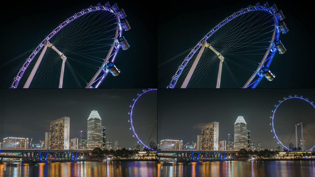 新加坡摩天轮夜景视频