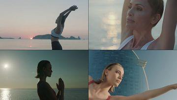 做瑜伽的气质美女视频素材