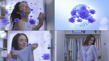 蓝色花朵和美女衣服上的香味