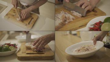 4K切五花肉视频素材