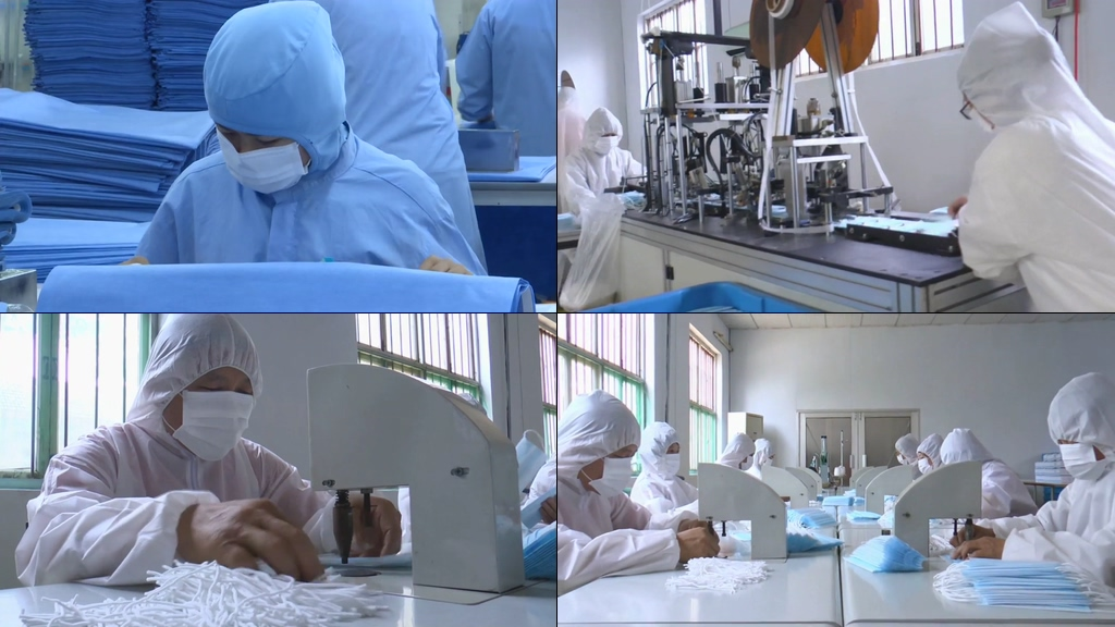 口罩生产线上的工人