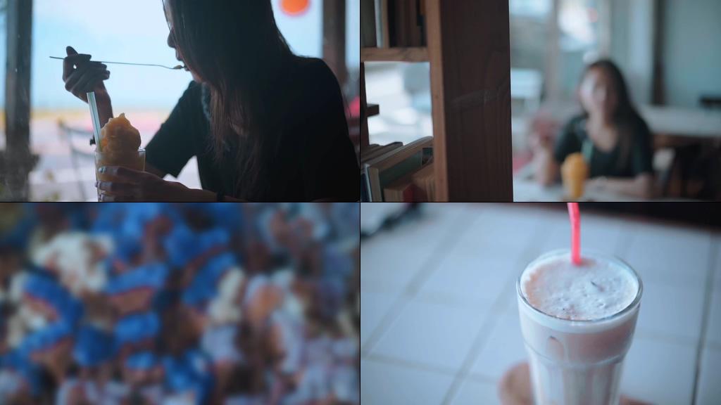 喝冷饮的女孩文案视频素材