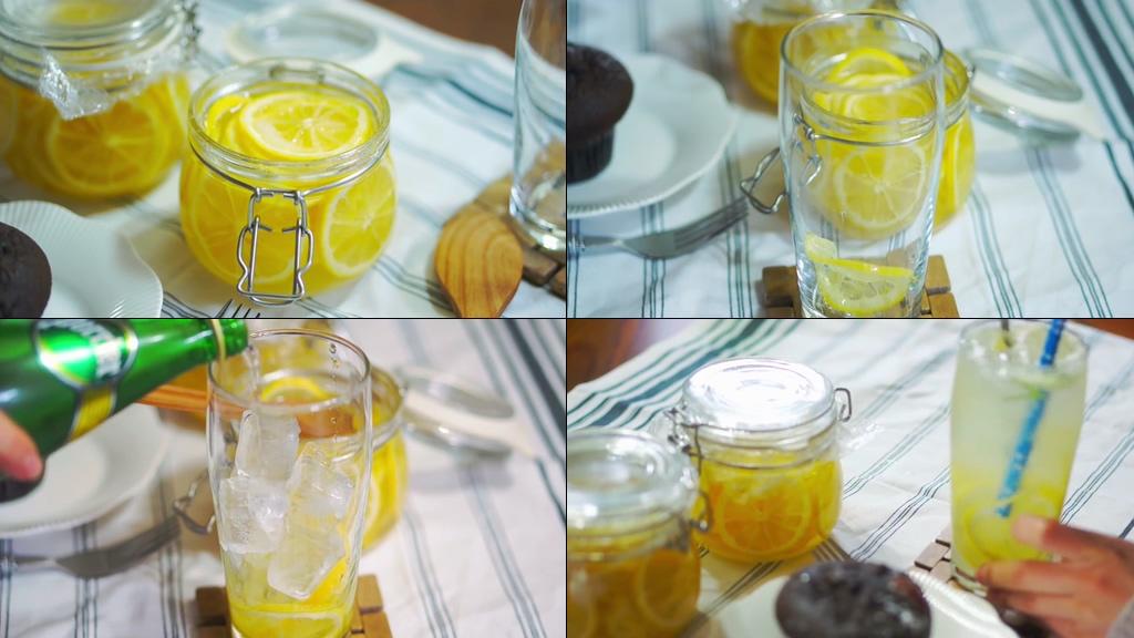 夏天可口酸爽的柠檬水视频素材