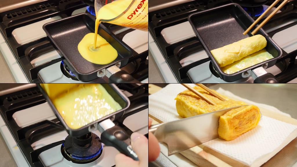 煎蛋做蛋卷视频素材