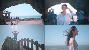 海边忧伤的女孩视频素材