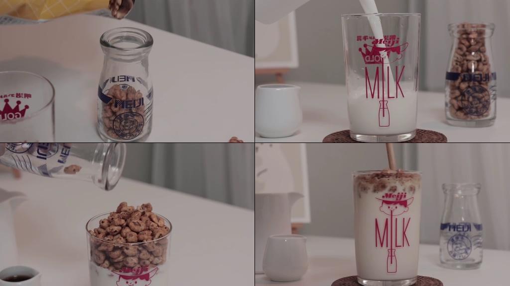 牛奶泡坚果视频素材
