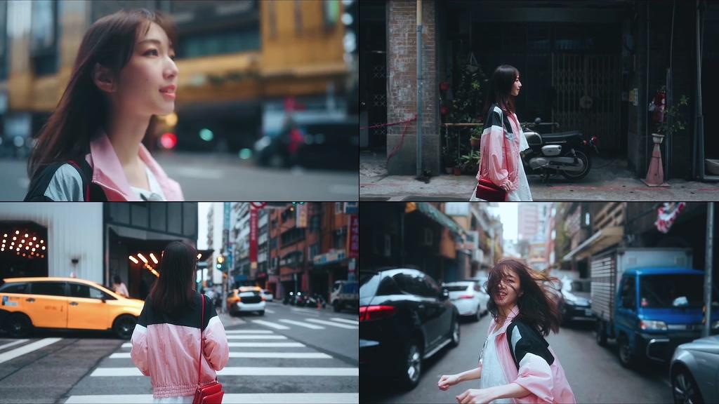 自信的姐姐走在香港街头