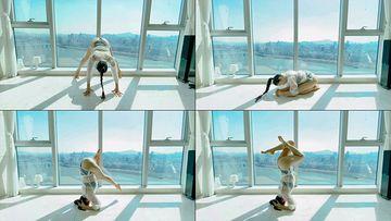 4K高楼海景房做瑜伽视频素材