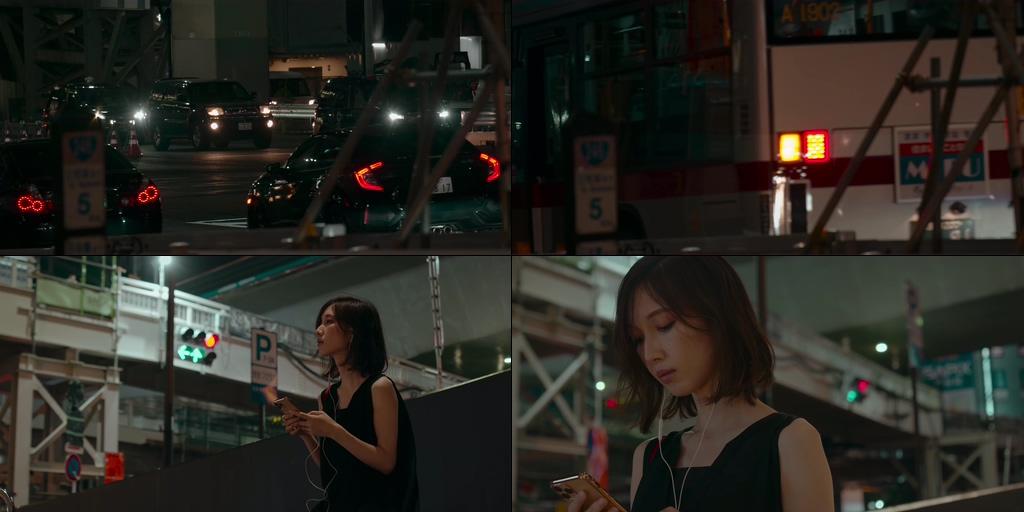 等公车听音乐的女孩有些伤感