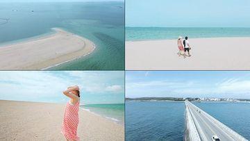 行走在海边的微胖女孩视频