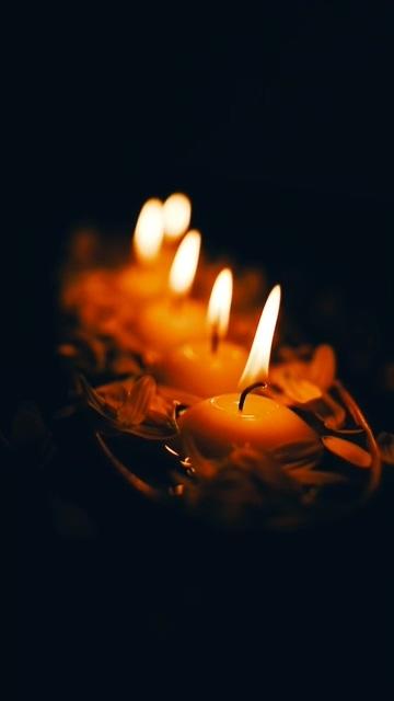 一排蜡烛虚化