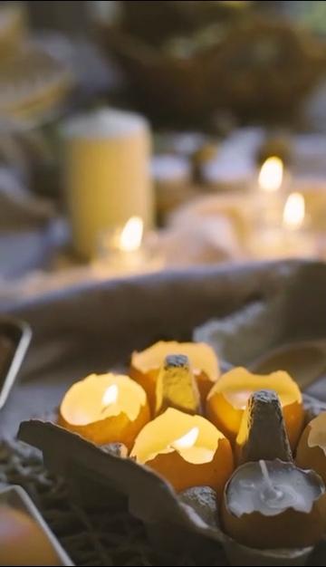 鸡蛋壳蜡烛视频素材